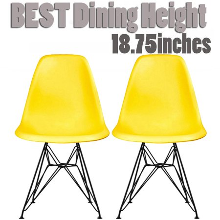 2xhome Set of 2 Yellow Modern Industrial Molded Shell Assembled Chairs Chrome Wire Black Metal Eiffel Side Armless No Arms With Back DSW for Desk Work Office Dining Living Kitchen