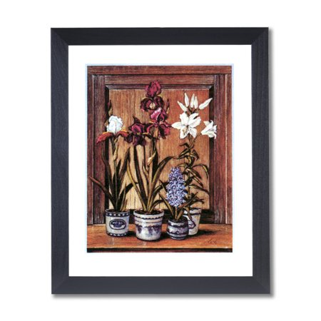 Country Irises Flowers Contemporary Wall Picture Black Framed Art Print