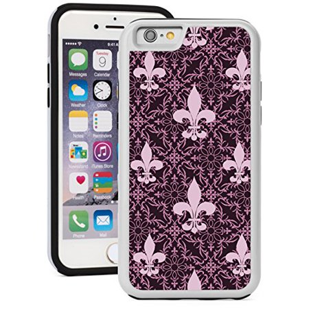Fleur De Lis Iphone (For Apple iPhone Shockproof Impact Hard Soft Case Cover Pink Purple Fleur-De-Lis Pattern (White for iPhone 6/6s) )