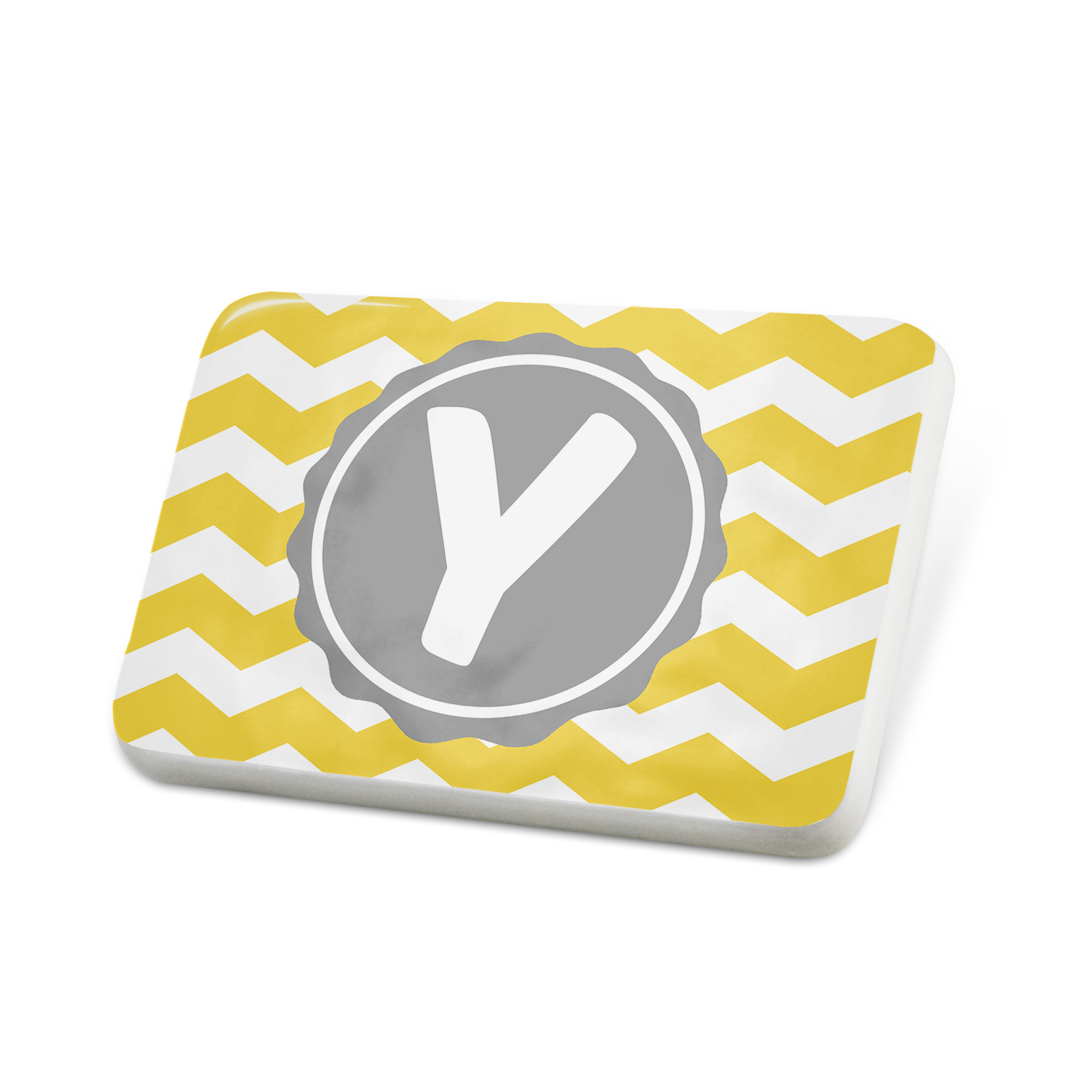 Porcelein Pin Monogram Y Yellow Grey Chevron Lapel Badge � NEONBLOND by NEONBLOND