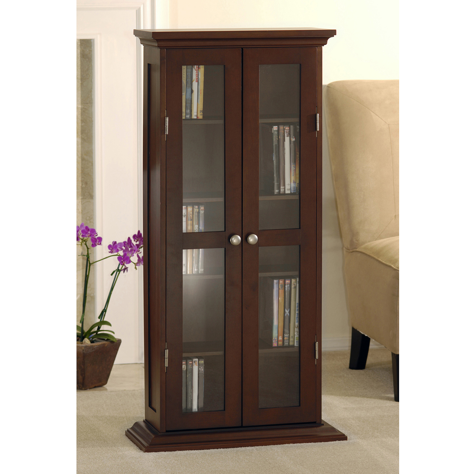 Exceptionnel Wood And Glass DVD / CD Cabinet, Walnut
