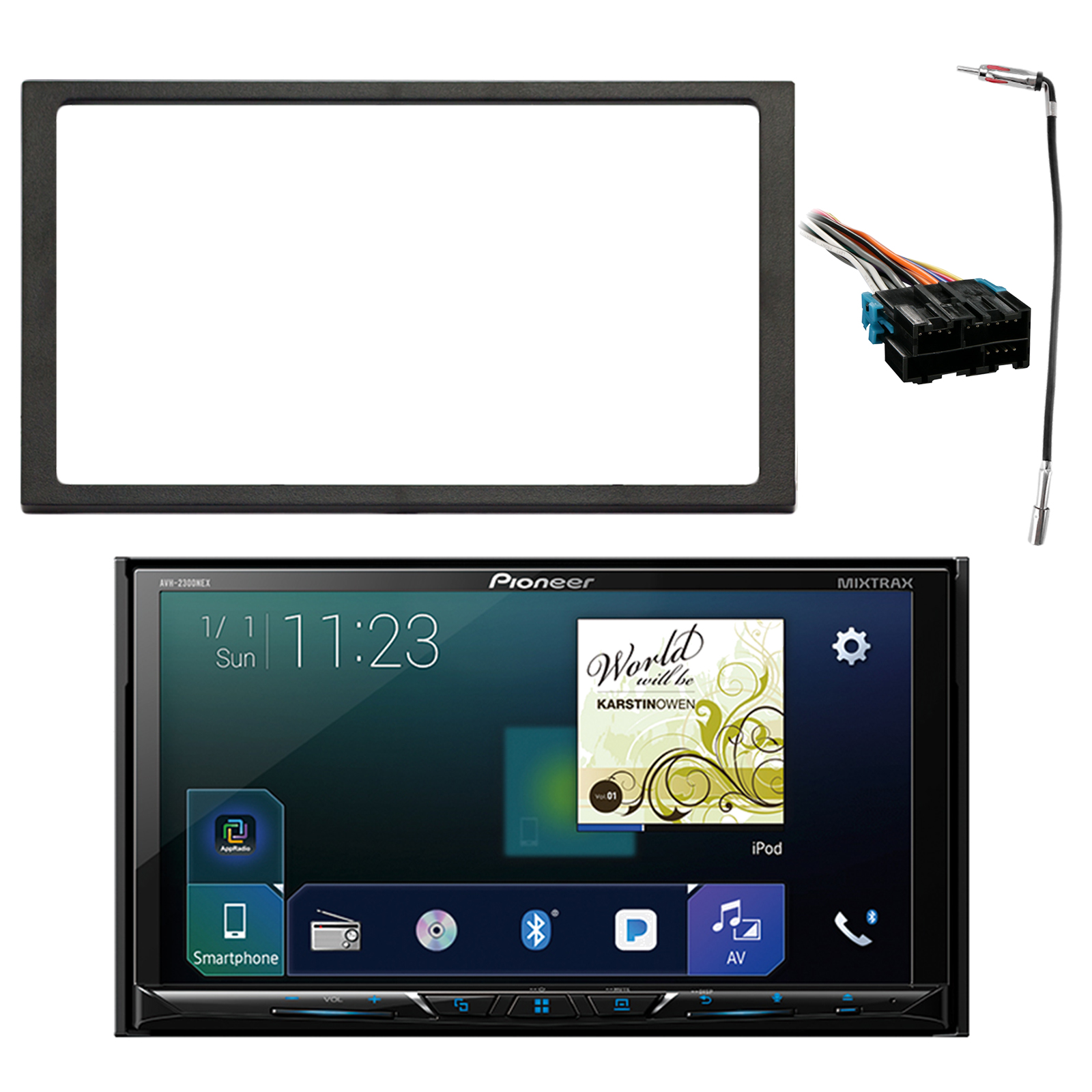 "Pioneer Double Din Multimedia DVD Bluetooth SiriusXM-Ready Receiver w/ 7"" WVGA Display, Enrock Double DIN Install Dash Kit, Metra Radio Wiring Harness, Enrock Antenna Adapter (Select 1994-2005 Vehicle"