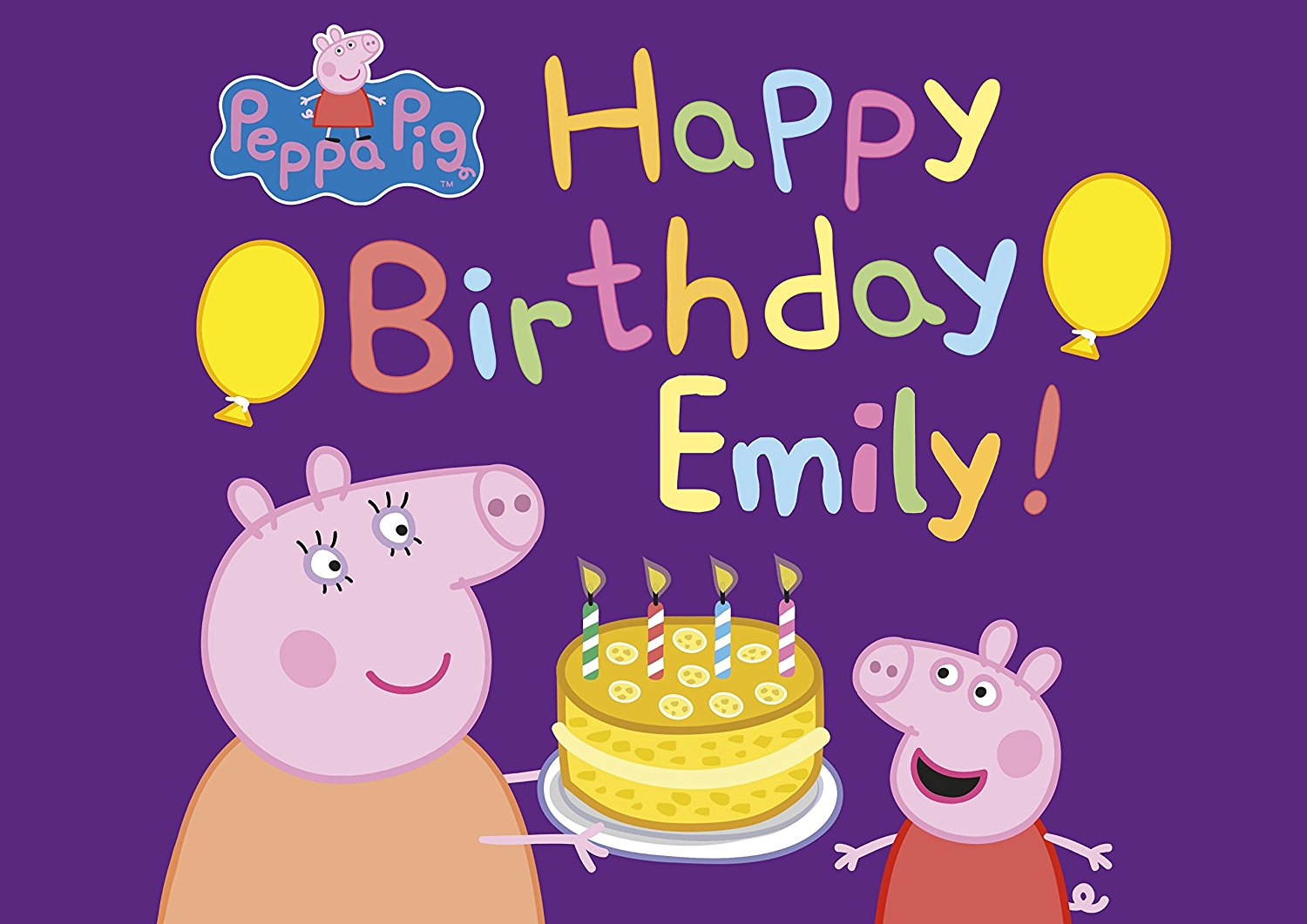 Peppa Pig Birthday Cake Personalized Cake Topper Icing Sugar Paper