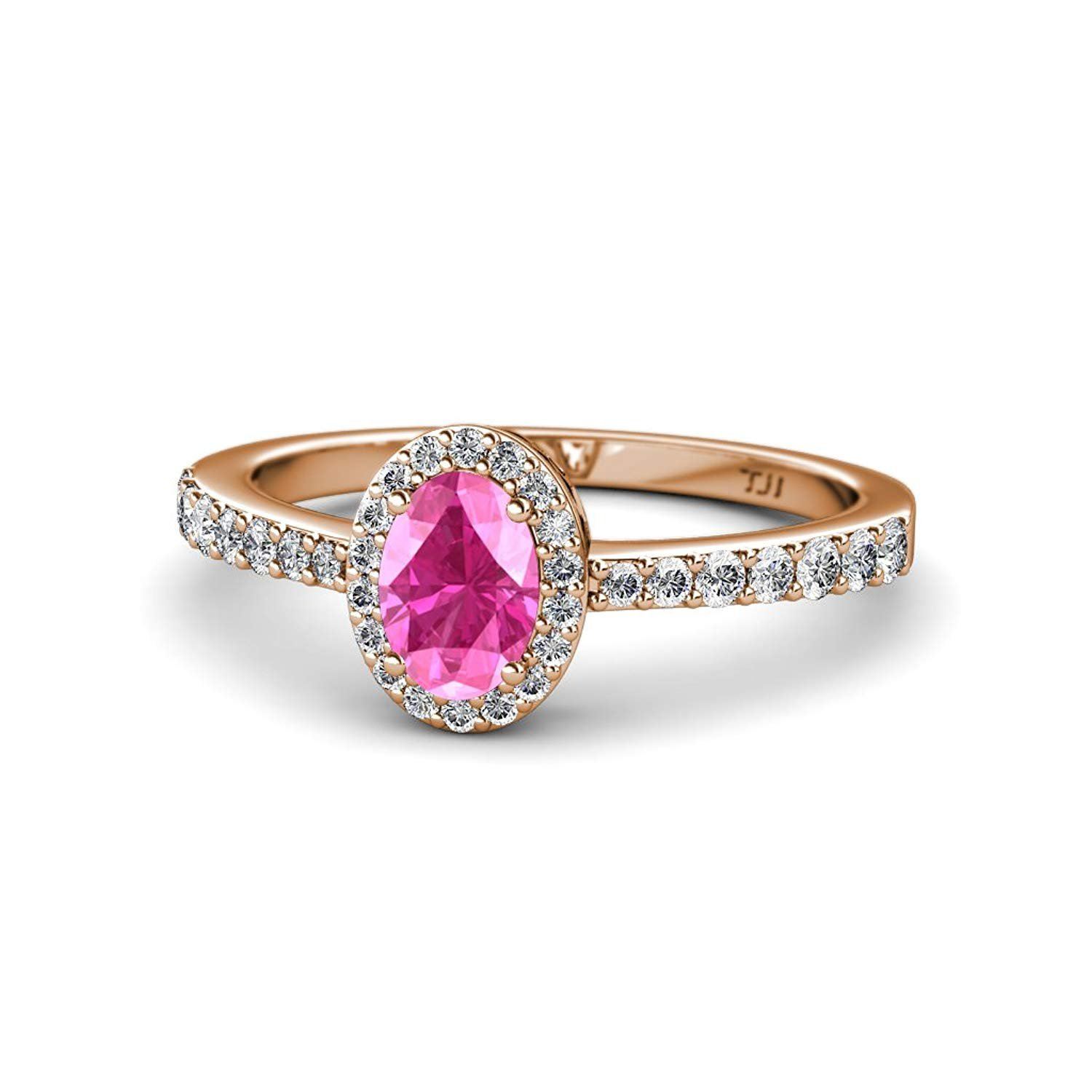 Oval 7x5mm Pink Sapphire and Diamond Halo Engagement Ring 1.43 Carat tw in 14K Rose Gold.size 7.25 by TriJewels