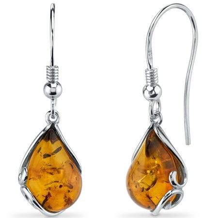 Peora Tear Drop Shape Baltic Amber Sterling Silver Drop Earrings Rhodium Finish Cognac Baltic Amber Earrings