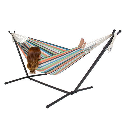 Double Hammock with Space Saving Steel Stand Includes Portable Carrying Case by Hammocks