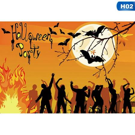 AkoaDa Halloween Backdrop Pumpkin Lanterns Black Cats Night Party Backgrounds 3ft x 5ft - Religious Background Of Halloween