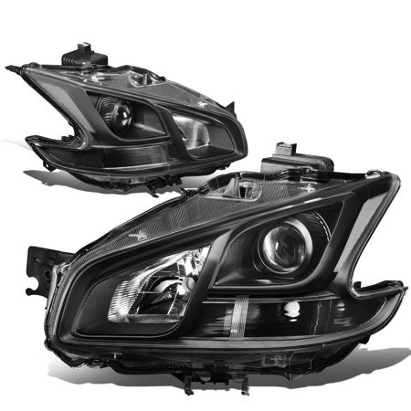 For 2009 to 2014 Nissan Maxima Pair Projector Headlight Black Housing Clear Side Headlamps 10 11 12 13 (Nissan Maxima Projector Headlights)