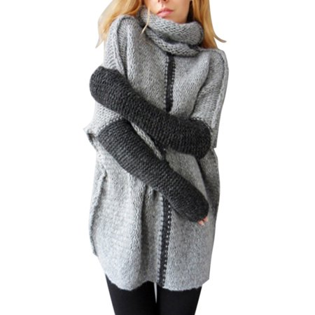 Women's Cowl Neck Cable Knit Crochet Stretchable Elasticity Long Sleeve Knitwear Outwear Pullover Sweater