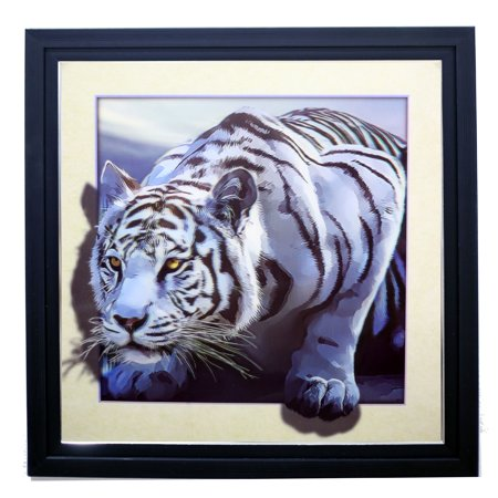 Tiger Woods Framed Pictures - WHITE TIGER SINGLE 3D LENTICULAR ART PICTURE FRAME ZOOMING 3D EFFECT WALL DECOR