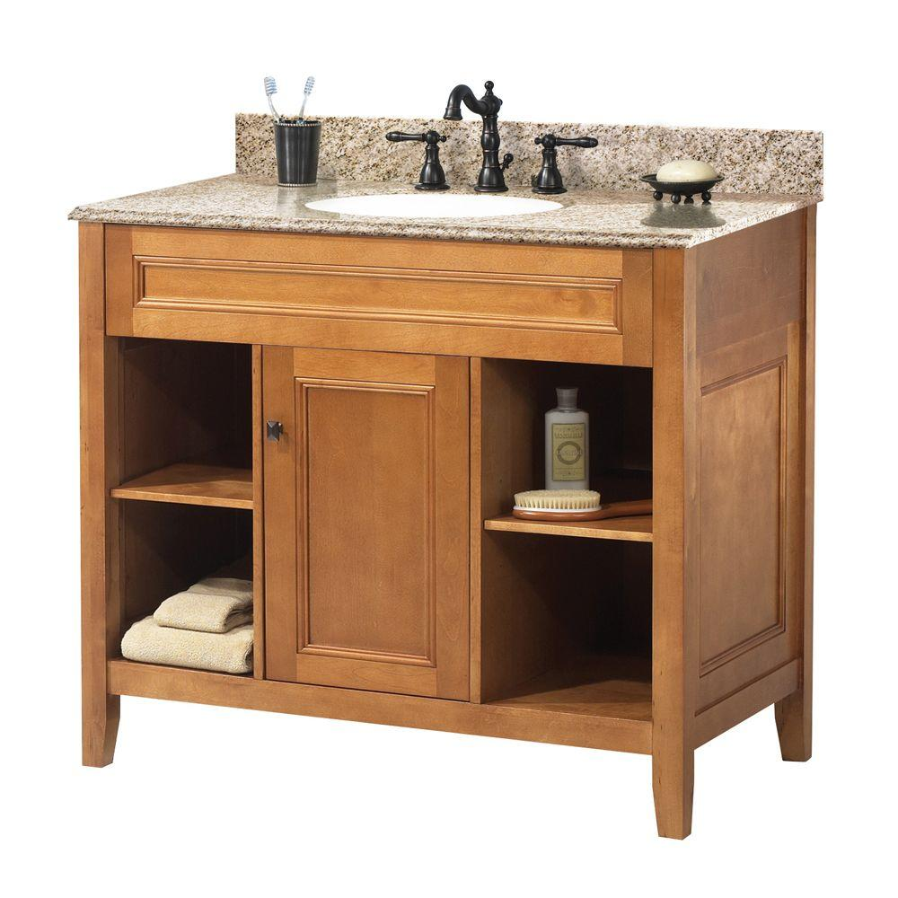 "Foremost TRIAGH3722 Exhibit 37"" W x 22"" D Vanity in Rich Cinnamon w/ Granite Vanity Top in Golden Hill"