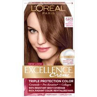 L'Oreal Paris Excellence Creme Permanent Triple Protection Hair Color, 6RB Light Reddish Brown, 1 kit