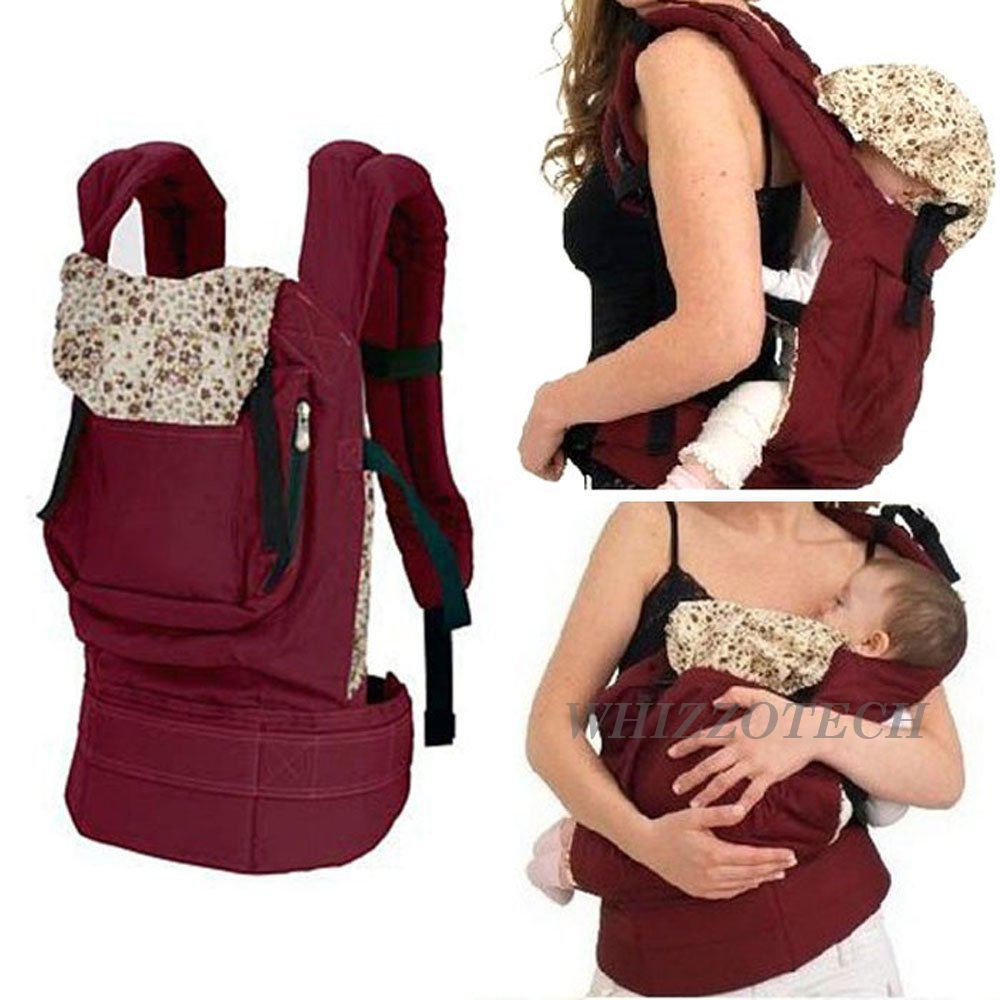 Cotton Baby Carrier Infant Newborn Comfort Backpack Buckle Sling Wrap Fashion -Red Color by Whizzo Tech