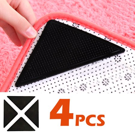 EEEKit Rug Grippers for Hardwood Floors, Triangle-shaped Carpet Gripper for Area Rugs Double Sided Anti Curling Non-Slip Washable and Reusable Pads for Tile Floors, Carpets, Floor