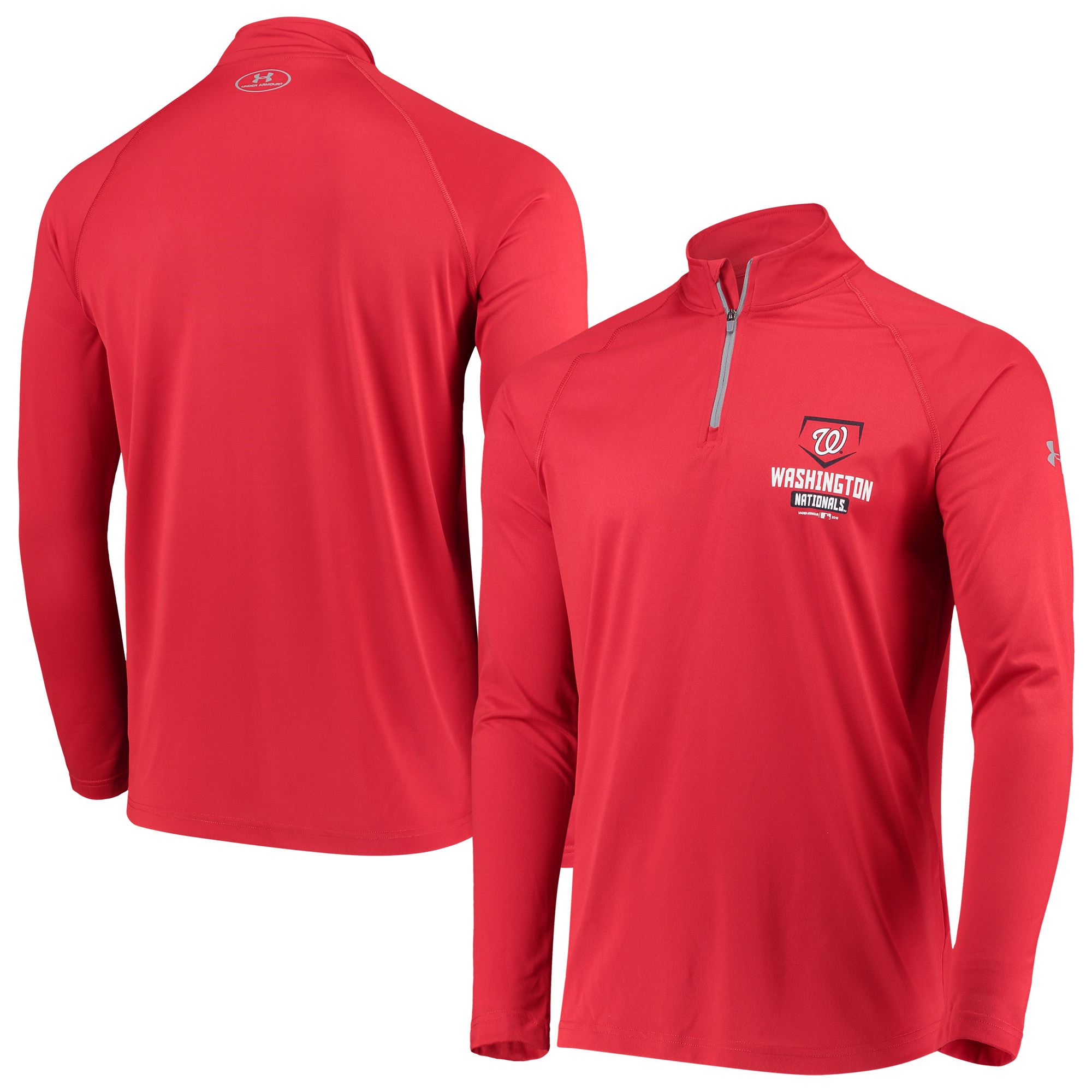 Washington Nationals Under Armour Tech Quarter-Zip Performance Pullover Jacket - Red