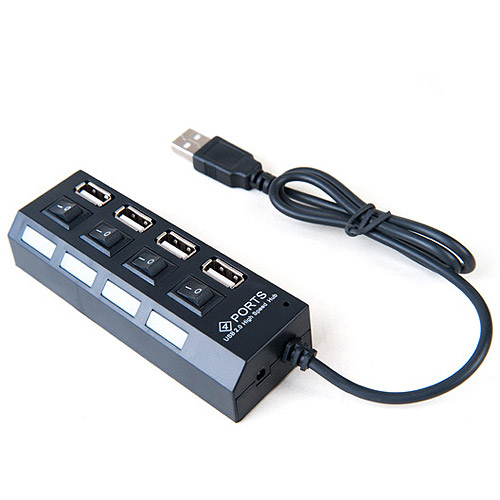 Link Depot 4-Port USB2.0 Hub with On/Off Energy-Saving Switches