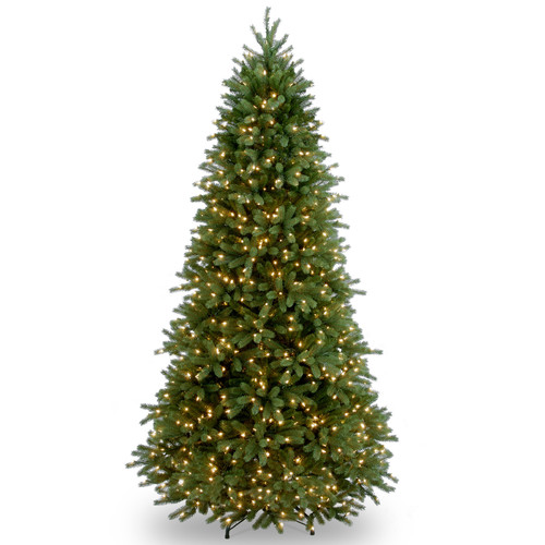 "National Tree Pre-Lit 7-1/2' ""Feel-Real"" Jersey Fraser Slim Fir Hinged Artificial Christmas Tree with 800 Clear Lights"