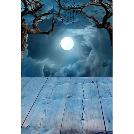 HelloDecor Polyster 5x7ft Spooky Halloween Night Full Moon Wood Floor Photography Backdrops Indoor Studio Backgrounds Photo Props - Halloween Spooky Backgrounds