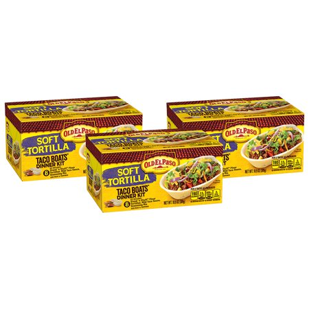 (3 Pack) Old El Paso Stand 'N Stuff Soft Taco Dinner Kit, 10.9 oz
