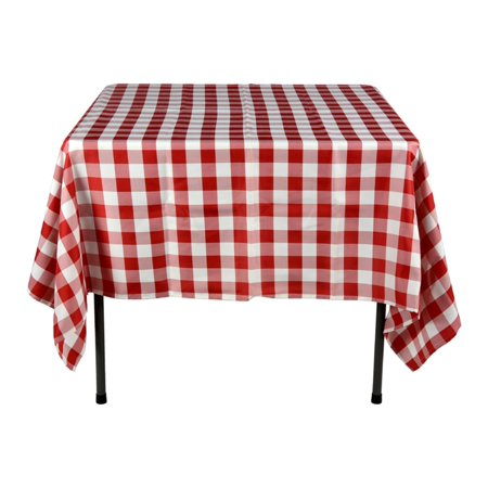 Set of 5, Red and White Checkered Tablecloths, 70 in. Square Table Linens for 3-foot Tables, Polyester (AMZHMRED70C) for $<!---->