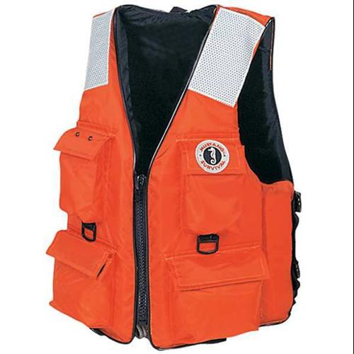 MUSTANG SURVIVAL MV3128 T2 M 4-Pocket Flotation Vest, Size M, Orange