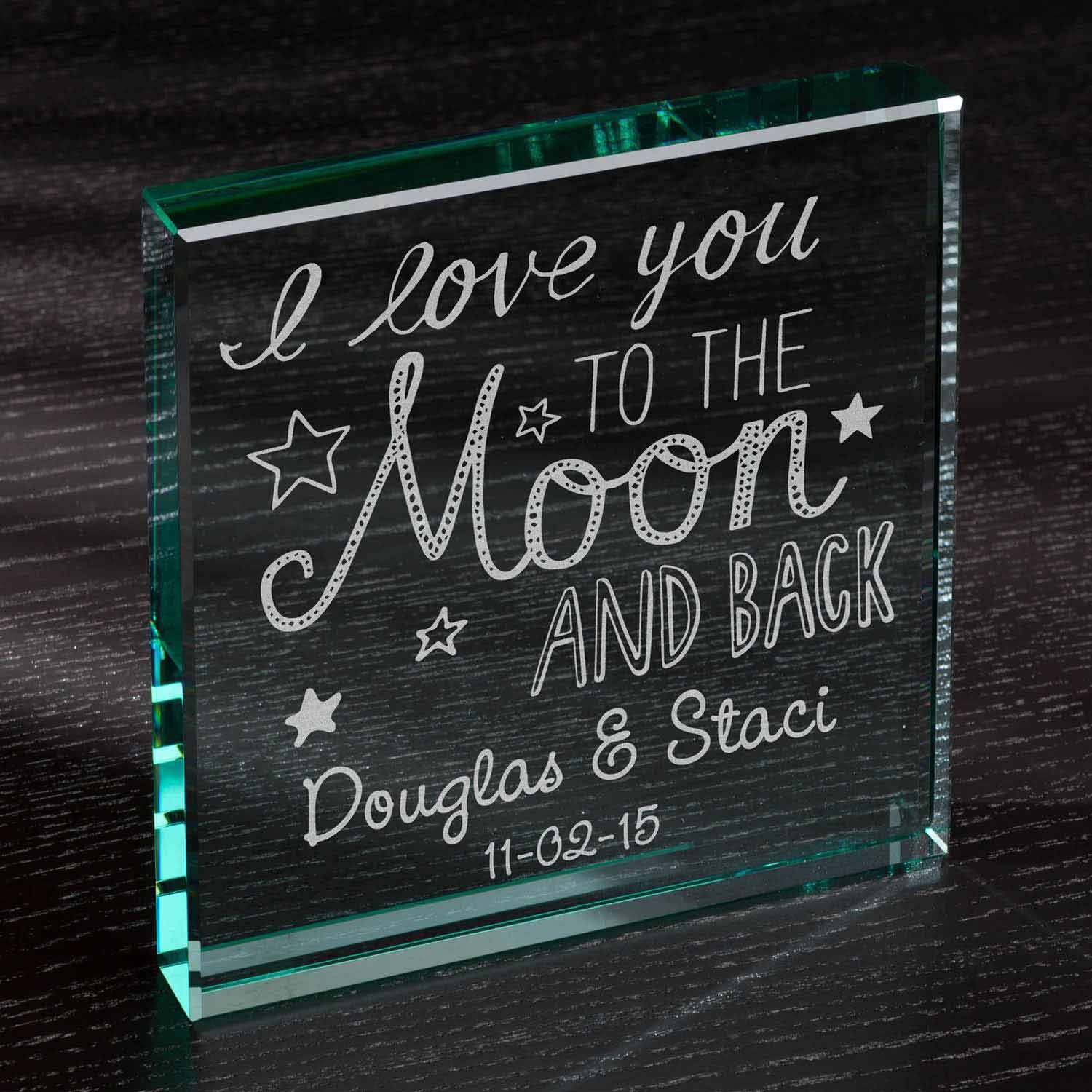 "Personalized To The Moon and Back 6"" x 6"" Glass Keepsake"