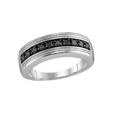 Wedding Anniversary Colors (Sterling Silver Mens Round Black Color Enhanced Diamond Milgrain Wedding Anniversary Band Ring 1/2)