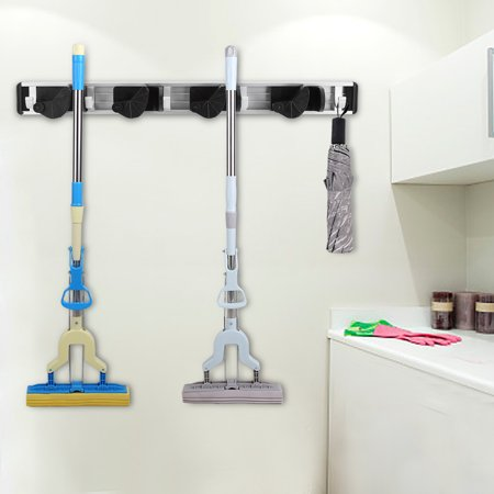 Tmishion Household Mop And Broom Holder Rack Wall Mounted