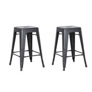 AC Pacific Backless Metal Bar Stool, Matte Black, 24 -inch, Set of 2 by AC Pacific