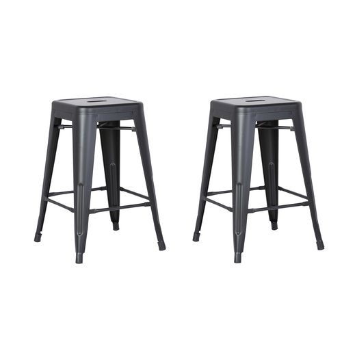 Image of AC Pacific Backless Metal Barstool, Matte Black, 24 -inch, Set of 2