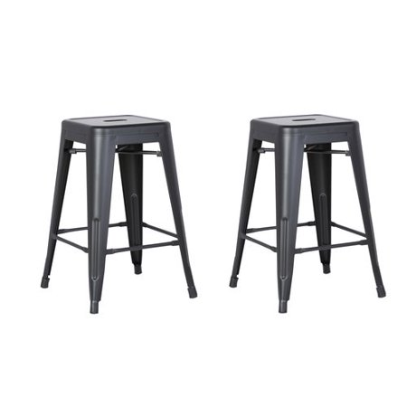 AC Pacific Backless Metal Barstool, Matte Black, 24 -inch, Set of 2 Black Cherry Bar Stools
