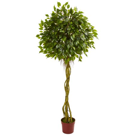 Nearly Natural 6 ft. Ficus Artificial Topiary Tree, UV Resistant (Indoor/Outdoor)