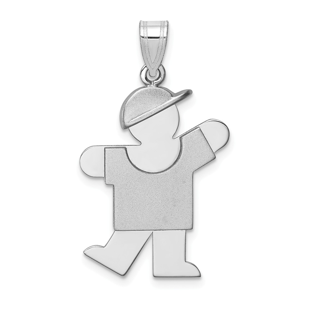 14k White Gold Medium Boy with Hat on Left Engravable Charm (1.2in long x 0.7in wide)