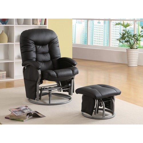 Latitude Run Dewells Stylishly Sophisticated Glider Manual Swivel Recliner with Ottoman