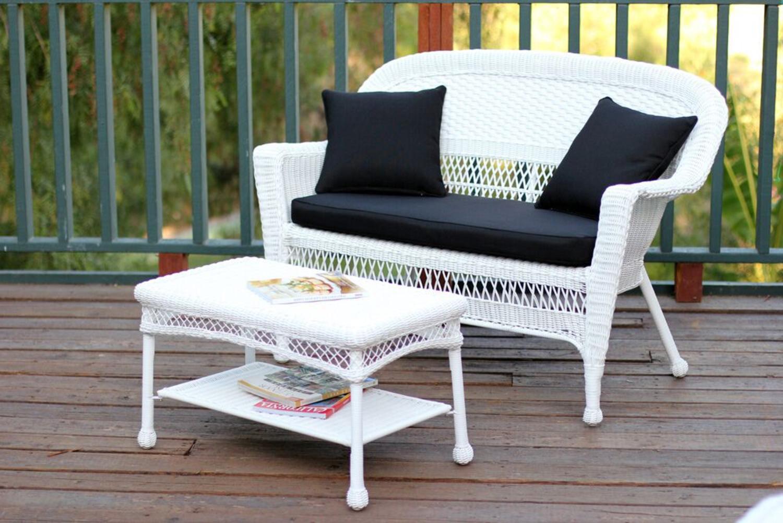 Pleasing 2 Piece Aurora White Resin Wicker Patio Loveseat And Coffee Table Furniture Set Black Cushion Creativecarmelina Interior Chair Design Creativecarmelinacom
