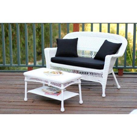Piece Aurora White Resin Wicker Patio Loveseat And Coffee Table - White wicker patio coffee table