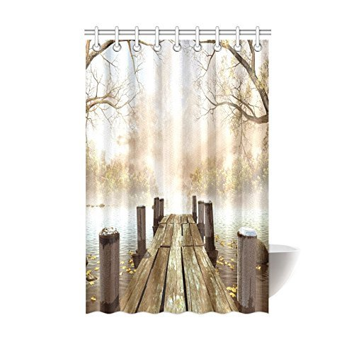 MYPOP Decor Fall Trees Wooden Bridge Foggy Lake Nature Country Rustic Home  Art Paintings Pictures For