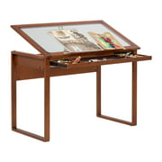 Studio Designs Ponderosa Wood Drawing Glass Table with Tilting Top in Sonoma Brown # 13280