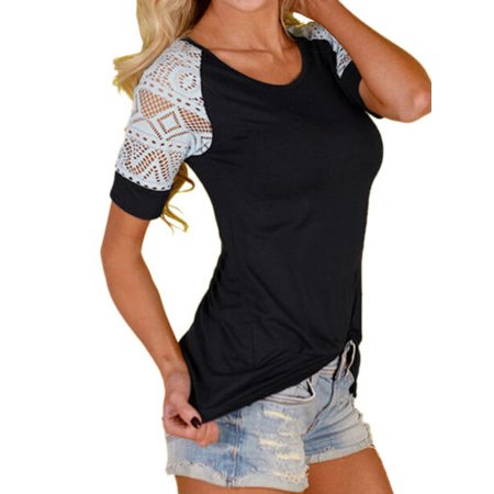 Summer Women Blouse Short Sleeve Lace T-Shirt Ladies Casual Tops Shirt Slim