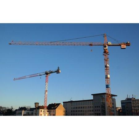 LAMINATED POSTER Construction Work Build Crane Site Sky Baukran Poster Print 24 x - Sky Crane