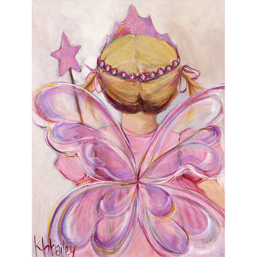 Oopsy Daisy - Little Fairy Princess - Blonde Canvas Wall Art 24x30, Kristina Bass Bailey