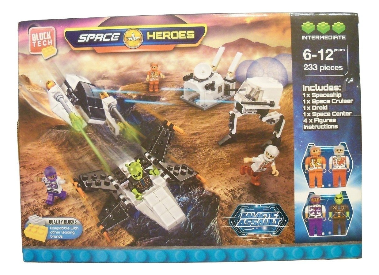 Space Heroes Galactic Assault 233 Piece Building Set ~ Intermediate Level (Builds Spaceship, Space Cruiser,... by