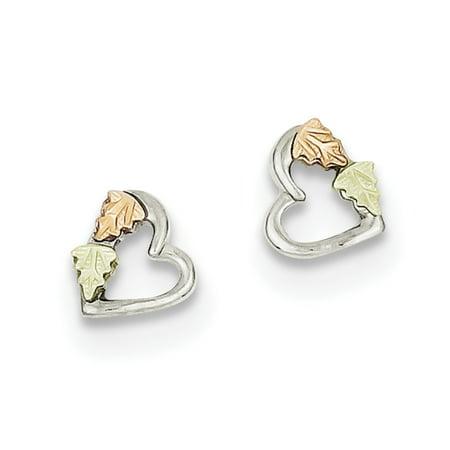 Sterling Silver & 12K Small Heart Post Earrings