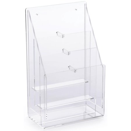 Acrylic Pamphlet Rack Has a Clear Exterior – Countertop and Wall Mounting Brochure Holder – Literature Stand Features 6 Adjustable Pockets (NGDO853) - Pamphlet Pocket Wood Display Rack