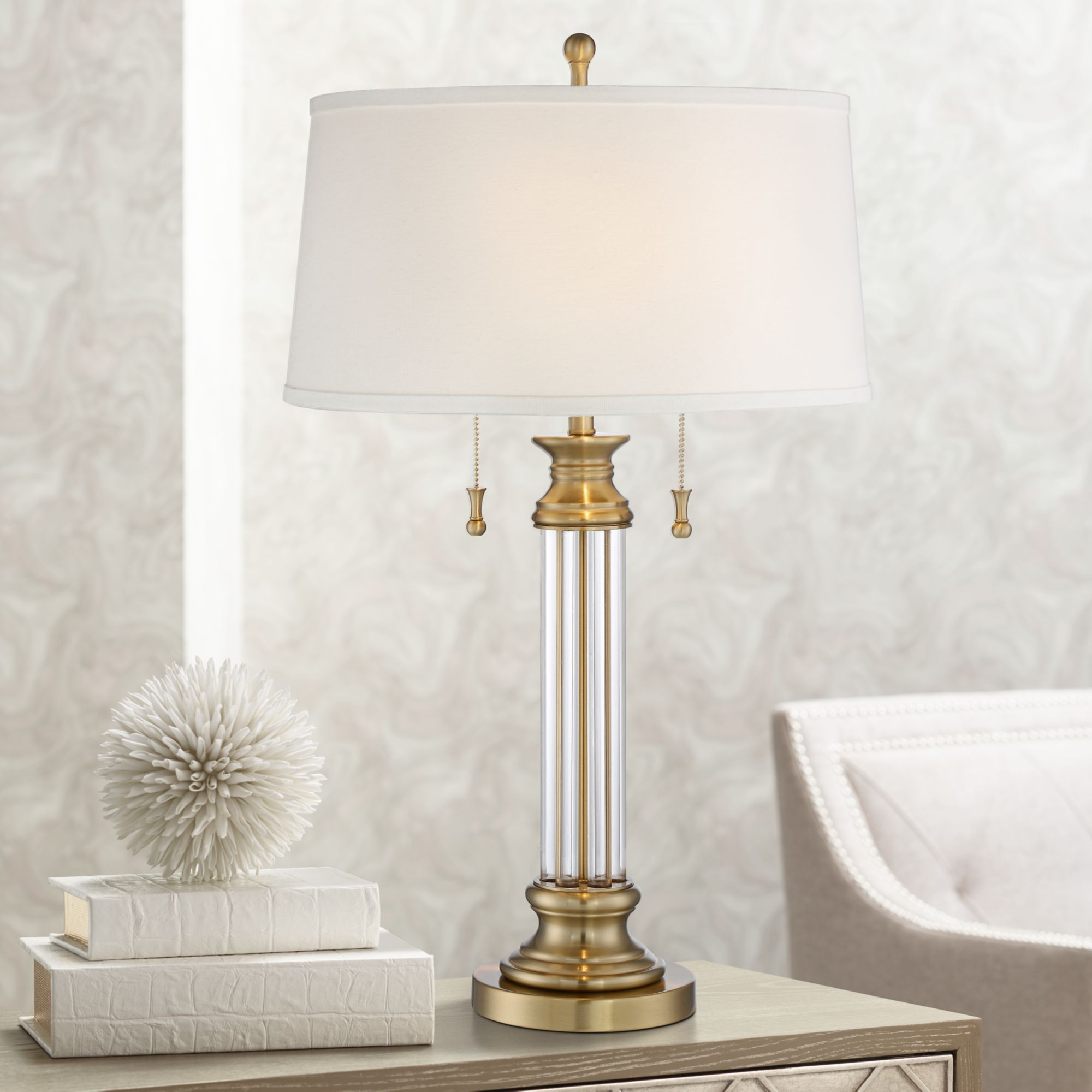 Vienna Full Spectrum Traditional Table Lamp Crystal Brass Column Off White  Tapered Drum Shade for Living Room Family Bedroom - Walmart.com