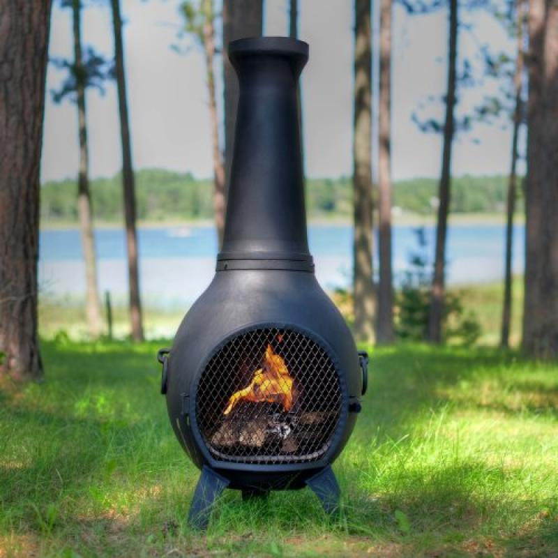 The Blue Rooster Co. Prairie Style Cast Aluminum Wood Burning Chiminea in Charcoal. by