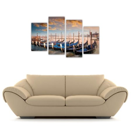 4pc Canvas Wall Art Set Arthauz Venice Italy Gondolas Prestretched Print