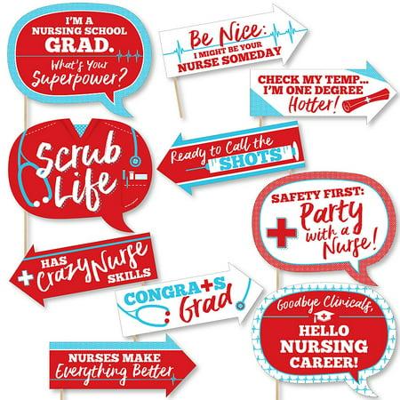Funny Nurse Graduation - Medical Nursing Graduation Party Photo Booth Props Kit - 10 Piece ()