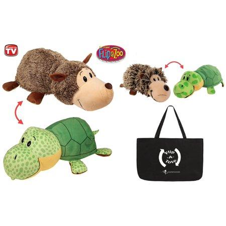 """FlipaZoo 16"""" & Flipzee 5"""" & FlipaTote COMBO ( Hedgehog / Turtle ) Huggable Flip a Zoo Stuffed Animal is 2 Zoo Pets in 1"""