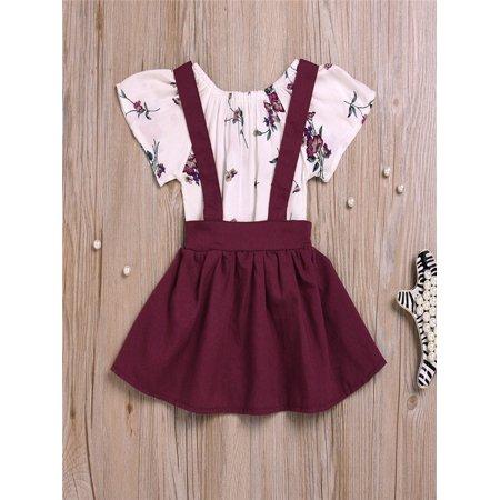 11532e112b1a 2Pcs Infant Baby Girls Floral Print Rompers Jumpsuit Strap Skirt Outfits  Set - Walmart.com